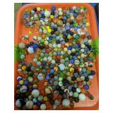 Tray Of Marbles. Shooters, Swirls, Clay Etc