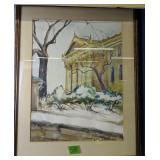 "Ella Parshall Stevens Building Watercolor 23x29"""