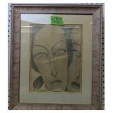 Faces Pencil Drawing Signed N. Carperres