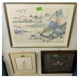 3 Framed Oriental Art. Watercolor? Mountain