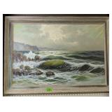 Oil On Canvas Crashing Waves Painting Signed