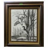 Resin Engraving Flying Ducks Collectors Art