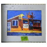 Acrylic Painting On Board Seafood Restaurant C.