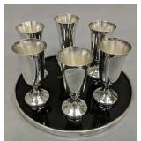 6 Wallace Sterling Silver Cordial Glasses W Tray