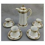 Hand-painted Nippon Chocolate Pot, Cups & Saucers