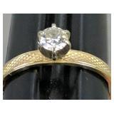 14k Gold Diamond Solitaire Ring .8 Dwt