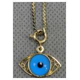 "14k Gold 20"" Chain, Eye Pendant 3.2 Dwt"