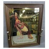 """Wild Turkey Mirror With Hat Hooks 22x28"""""""