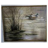 """Oil On Canvas Duck Painting Signed Johnston 52x42"""""""