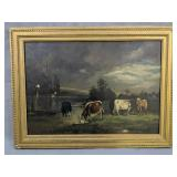 """Oil On Canvas Cow Painting 23x17.5"""""""