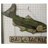"""Painted Wood Bait & Tackle Sign 27"""" Wide"""