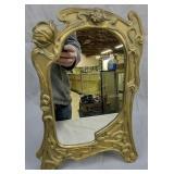 Brass Art Nouveau Poppy Flower Mirror