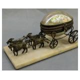 Mother Of Pearl Goats Stagecoach Trinket Dish