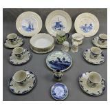 Delft Plates, Cups Saucers, T&v Limoges Bowl, Etc