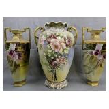 3 Vases. Matching Pair Hand-painted Nepal, Large