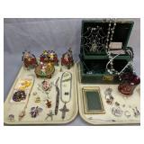 Costume Jewelry Tin Can Doll Furniture, Rabbits