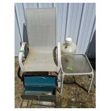 Patio Chair, Toolbox, Side Table