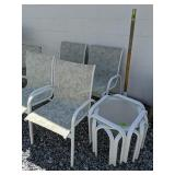 Four Patio Chairs, Tables, Umbrella Stand