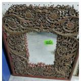 "Ornate Carved Wood Mirror 20x24"""