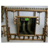 Oak Stick And Ball Hat Rack With Mirror