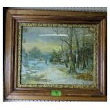 Man Walking In Wooded Scene Chandler Lithograph