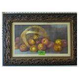 """Fruit Still Life Print In Ornate Frame 25.5x17.5"""""""