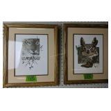 """Pair Of Wildlife Framed Art 16x13.5"""""""