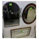 3 Beveled Glass Mirrors. Naturalist, Oval,