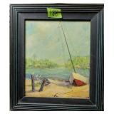 """M Richardson Oil On Board Sailboat Painting 16x18"""""""