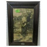 """Framed Lithograph Girl With Ducks 17.5x25.5"""""""