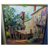 """Bickford Oil On Canvas House Painting 31.5x31.5"""""""