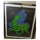 Black Blue & Green Vasarely Horses Signed #d