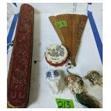 Oriental Carved Fan, Box, Elephants Etc