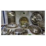 Collection Of Silver Plate Serving Pieces Etc