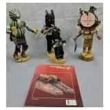 3 Native American Indian Kachina Dolls, American