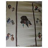 "Signed Crochet Duck Hunting Dog Blanket 78x63"""