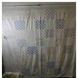 Checkerboard Pattern Quilt 76x82 W Heavy Wear