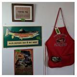 Metal Fish Signs, Warning Fishing Pox, Crab