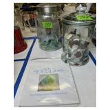 Covered Jars With Sea Glass, Sea Glass Book