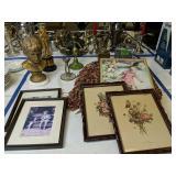 Brass Candelabra, Plaster Bust, Golf Trophies,
