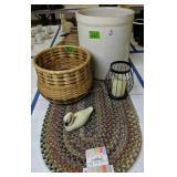 6 Gallon Crock, Basket, Braided Rug Etc