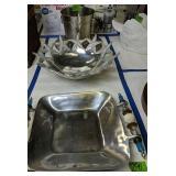 Jeweled Ice Bucket With Tray, Starfish Aluminum