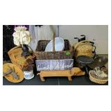 Table Lot Of Country Items. Baskets, Pig Serving