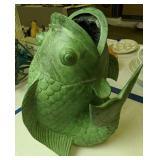 Heavy Faux Verdigris Finish Metal Fish Vase