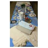 Table Lot Linens, Vases, Wedgewood Jasper Ware,