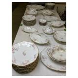 Table Lot Dishes Elite Limoges France Rose Pattern