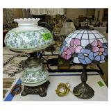 Pair Of Table Lamps. Leaded Stained Glass, Violets