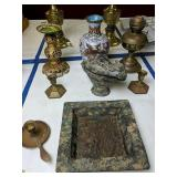 Cloisonne Vase, Cencer, Oil Lamp, Candlesticks Etc