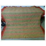 """Green Gold And Red Wool Coverlet 78x86"""""""