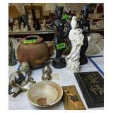 Oriental Figurines, Signed Raku Pottery Bowl,